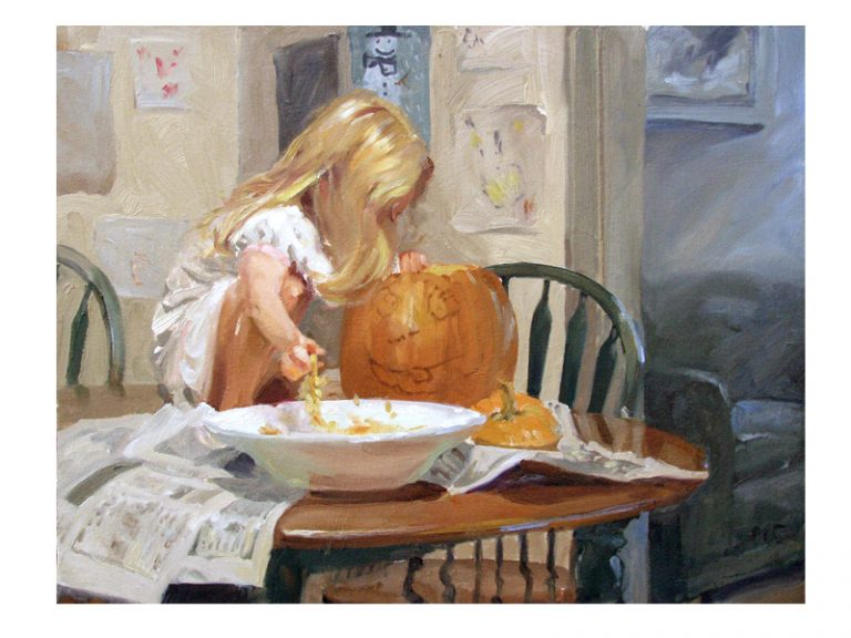 painting of girl carving a pumpkin
