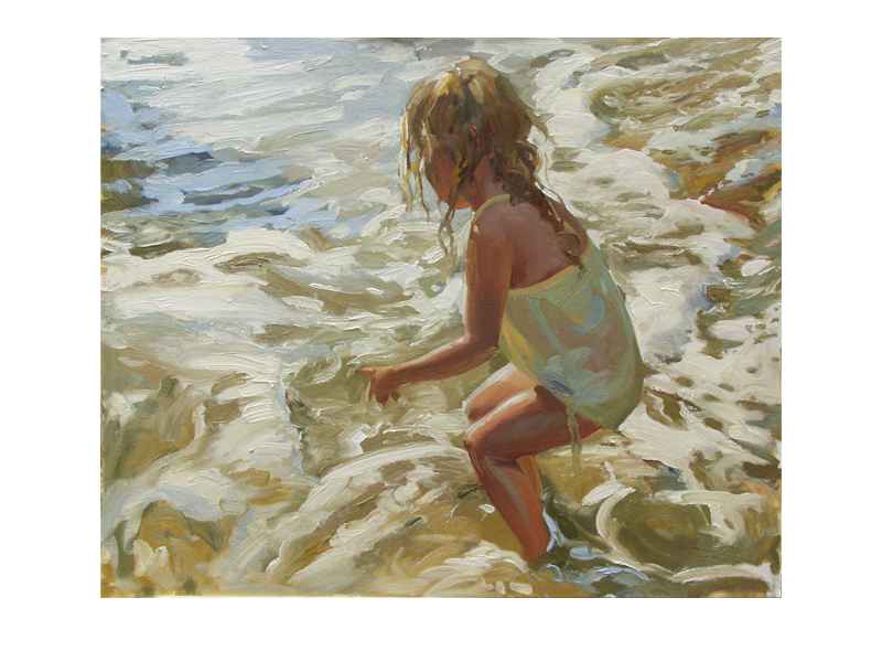 painting of a little girl in the ocean surf
