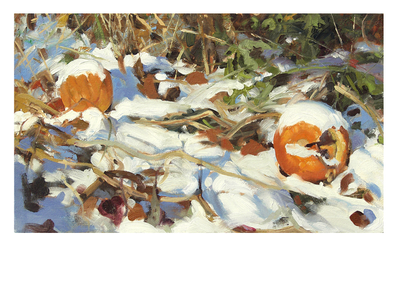 image of snow on pumpkins